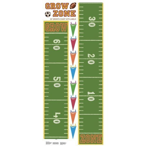 York Wallcoverings RMK1079GC RoomMates Play Ball Peel & Stick Growth Chart, Green (Peel Stick Growth Chart compare prices)