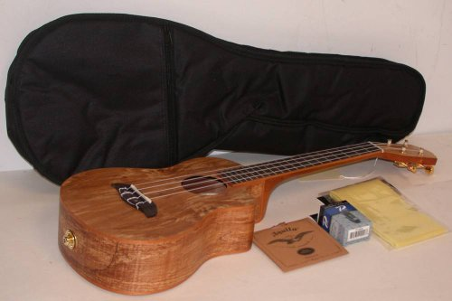 Oscar Schmidt Ou8Tlce Acoustic/Electric Tenor Ukulele, Spalted Maple Top, Back And Sides, Satin Finish, Includes Tms Polishing Cloth, Padded Gig Bag, Profile Digital Clip-On Tuner & Extra Set Of Aquila 10U Nylgut Strings