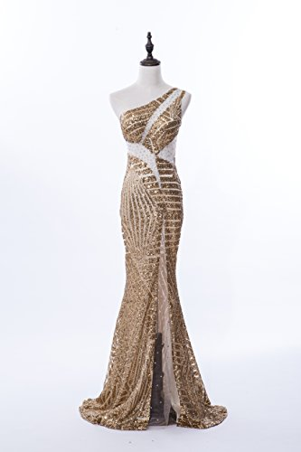06eb32b4e78 BeryLove One Shoulder Beaded Sequins See Through Split Mermaid Prom Evening  Gown Gold Size 12