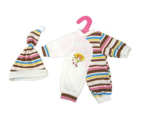 Highmall High Simulation Baby Doll's Clothes Brown Stripes Rompers Suit with Hat for 11.5 Inches Dolls