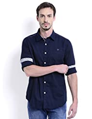 Sting Blue Solid Slim Fit Full Sleeve Cotton Casual Shirt For Men - B00V83AYOK