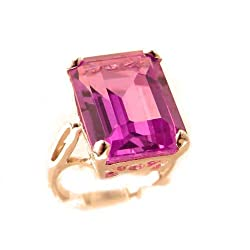 Luxury Rose 9K Gold Womens Large Solitaire Synthetic Pink Sapphire Basket Ring - Size 10 - Finger Sizes 5 to 12 Available - Perfect gift for mum, mom, mother, grandmother, grandma, nan, auntie, aunty, daughter