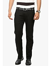 Wear Your Mind Black Linen Linen Chinos For Men WTR018.5