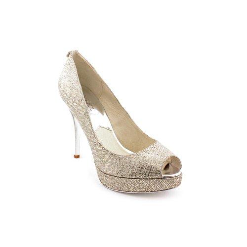 Michael Kors Women'S York Platform Pumps In Silver Size 9