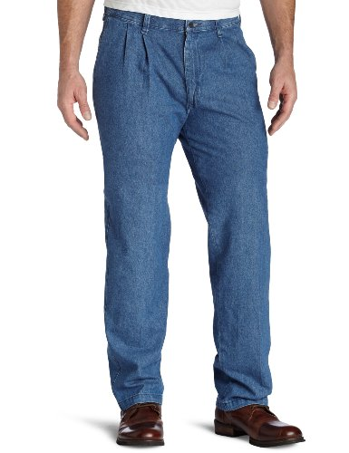 2c99f1d9 Lee Men's Wrinkle Resistant Double Pleat Denim Pant, Stonewash, 34x30,.