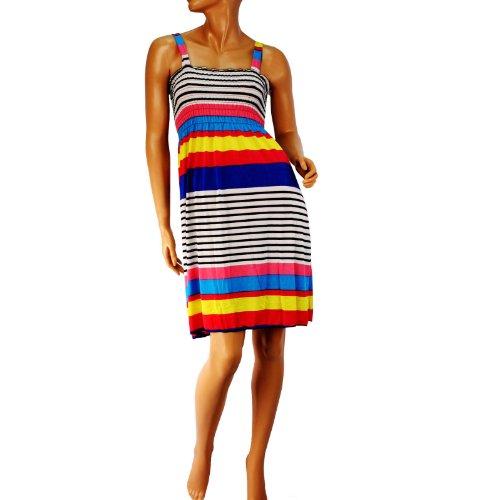 Silky Stripe Summer Ruch Short Tube Sundress Dress Straps Rainbow Pink Blue M/L