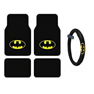 bdk wbmt 1301 wbsw 1301 batman 4 piece floor mats and batman steering cover automotive. Black Bedroom Furniture Sets. Home Design Ideas