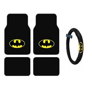 bdk wbmt 1301 wbsw 1301 batman 4 piece floor mats and batman steering cover automotive. Black Bedroom Furniture Sets. Home Design Ideas
