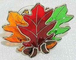 Stained Glass Oak Leaf Votive Tea Lite Candle Holder