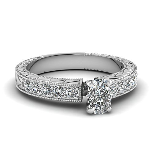 Fascinating Diamonds 1.1 Ct Cushion Cut E-Color Diamond Vintage Inspired Engagement Ring Pave Set 14K Gia