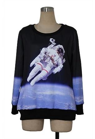 Dealkiller Ladies Neon Star Wars Galaxy Cosmic Roll Neck Sweatshirt Sweater by Dealkiller