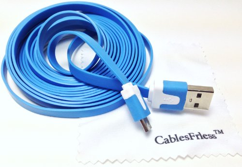 Blue 10Ft ( 10 Feet 10' ) Tangle Free Noodle Style Micro B Usb Charging / Data Sync Cable Fits Android Samsung Galaxy Htc Lg Pantech Blackberry Motorola Sony Zte