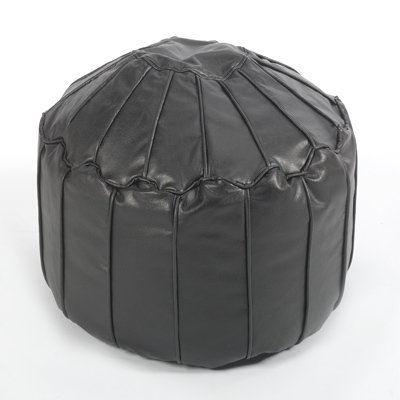 Faux Leather Moroccan Footstool/Pouffe, Black