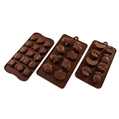 Bluefox Lot de 3moules en silicone avec motifs : navires, voitures, avion, renard, hibou, lapin, différents fruits, muffins, chocolat, massepain, glaçons, devise. Idéal pour une fête, une idée cadeau, un anniversaire d'enfant. Couleur : marron