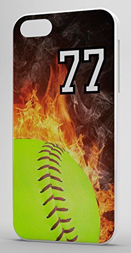 iPhone 6s 6 Case Softball Flaming Fire Any Custom Jersey Number 77 Clear Plastic (Iphone 6 Softball Cases Number 77 compare prices)