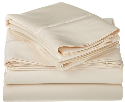 Egyptian Cotton 1200 Thread Count Oversized King Sheet Set Solid, Ivory
