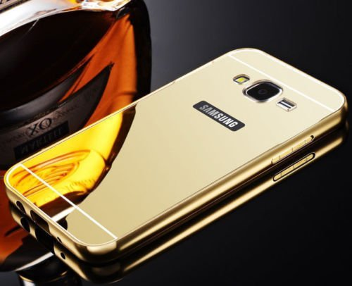 D-kandy Aluminum Metal Bumper with PC Mirror Back Cover Case For Samsung Galaxy Core Prime G360 - Gold