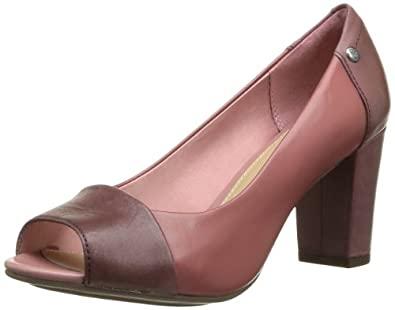 Hush Puppies Women's Sisany Peep Toe Court Shoes Pink Rose (Rose/Mauve Lea) 3.5