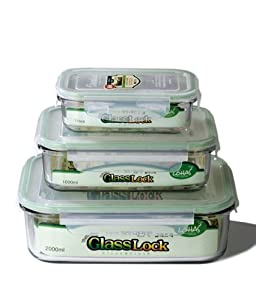 Kinetic Glasslock Series 01317 Rectangular Glass Food-Storage Containers with Locking Lids, Set of 3