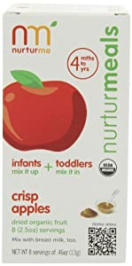 NurturMe All-Natural Baby Food, Crisp Apples, 8-Count Pouches (Pack of 3)