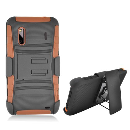 Cell Accessories For Less (Tm) For Htc Evo Design 4G/ Kingdom/ Hero 4G/ Hero S Black Armor W/Stand Brown Skin & Black Belt Clip + Bundle (Stylus & Micro Cleaning Cloth) - By Thetargetbuys
