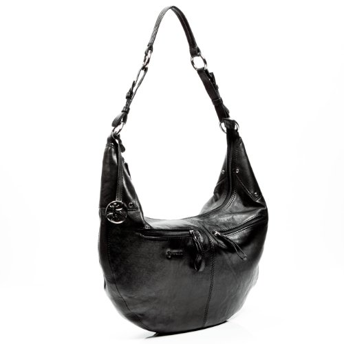BACCINI hobo bag SIENNA - real leather Shoulder bag - handmade boho black