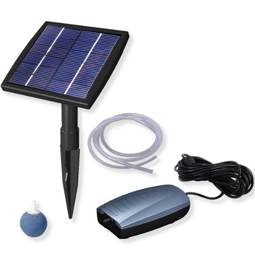 Woodside Solar Powered Oxygenator Pond Water Oxygen Pump 1 Air Stone Aerator