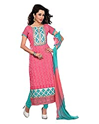 Clothing Deal Women's Cotton Unstitched Dress Material (Pink)
