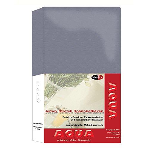 AQUA-Jersey-Stretch-Spannbettlaken-24-Farben-und-2-Gren-elastisch-passt-auf-Matratzen-Wasserbetten-Boxspringbetten-140-x-200-160-x-220-cm-platin-grau-CelinaTex-0001510