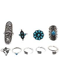 Phenovo Bohemia Vintage Silver Arrow Moon Turquoise Joint Knuckle Nail Midi Ring Set