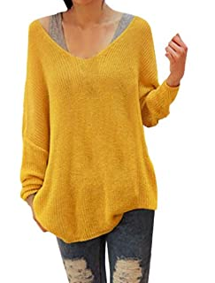 Ladies Yellow Softness Scoop Neck Long Sleeve Pullover Knit Tunic Top