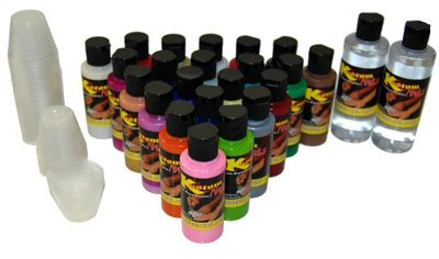 Deluxe 24 NAIL PAINT COLORS 24 Solid Airbrush Nail Paint Kit Kustom Shop