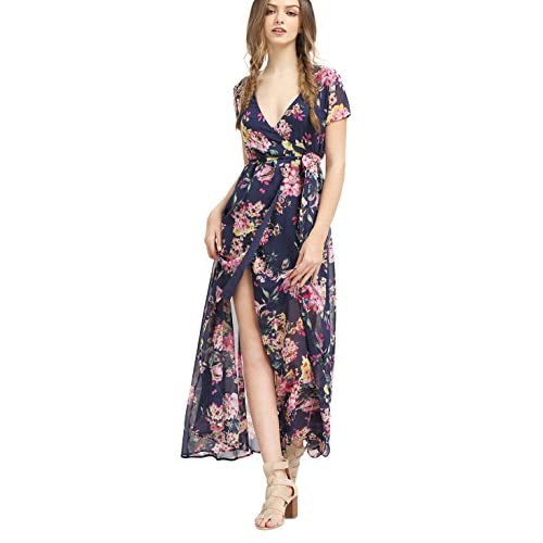 Milumia Women's Vintage Floral Print Split Wrap Maxi Dress