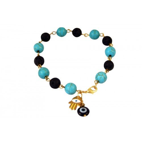 Hamsa and Evil Eye with Turquoise and Lava Bead Bracelet