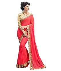 Shubhkari Fashion Pink Georgette Extra Women's Fancy Saree With Heavy Dhupion Blouses(SF_NAVRATRI_SPECIAL_1009_FREE_SIZE)