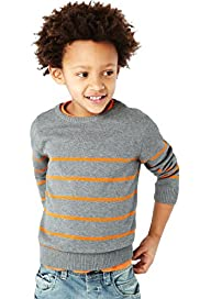 Pure Cotton Crew Neck Striped Jumper with Stay New™