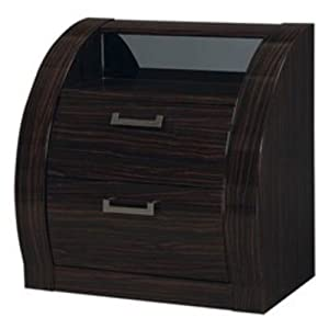 Global Furniture USA MADISON Collection MDF/Wood Veneer Bedroom Set with Nightstand, Black/Kokuten