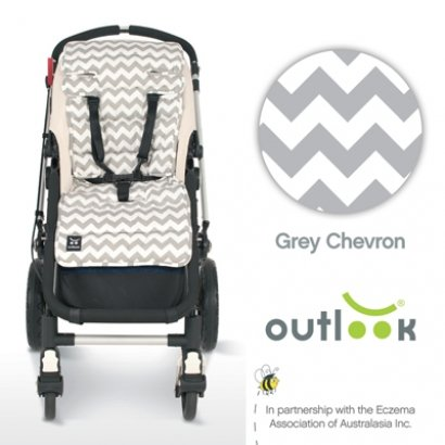 Outlook Universal Pram Travel Comfy Liner Grey Chevron Design