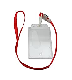 Chuzhao Wu Red Polyester Lanyard Neck Strap Hook ID Card Holder(Pack Of 10)