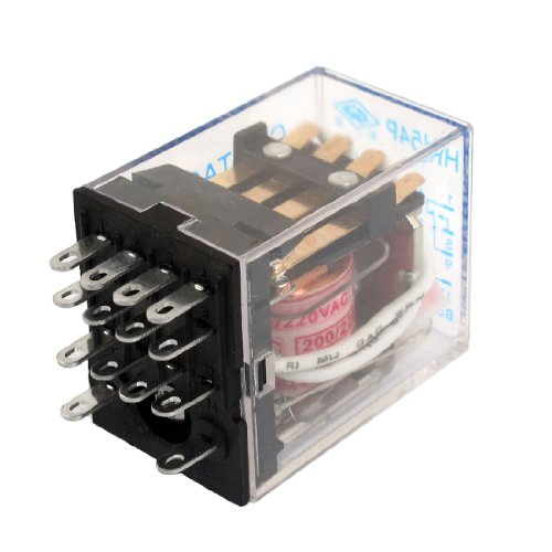 Hh54P Ac 220V Coil 14 Pin 4Pdt Red Led Indicator Power Relay 5A 240Vac 28Vdc