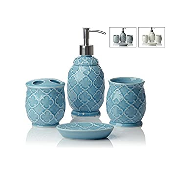Designer 4-Piece Ceramic Bath Accessory Set by Comfify - Includes Liquid Soap or Lotion Dispenser w/ Premium Metal Pump, Toothbrush Holder, Tumbler, Soap Dish - Moroccan Trellis