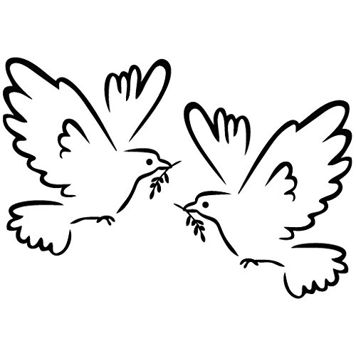 Dove Serenity - Animal Decal Vinyl Removable Decorative Sticker for Wall, Car, Ipad, Macbook, Laptop, Bike, Helmet, Small Appliances, Music Instruments, Motorcycle, Suitcase