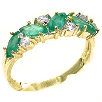 Solid 9ct Yellow Gold Natural Emerald & 0.24ct Diamond Ladies Eternity Ring - Finger Sizes J to Z