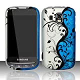 Samsung Transform Ultra M930 Accessory - Blue / Silver Vine Flower Design Protective Hard Case Cover for Sprint / Boost Mobile