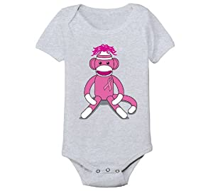 Breast Cancer Awareness Pink Sock Monkey Cool Funny infant One Piece