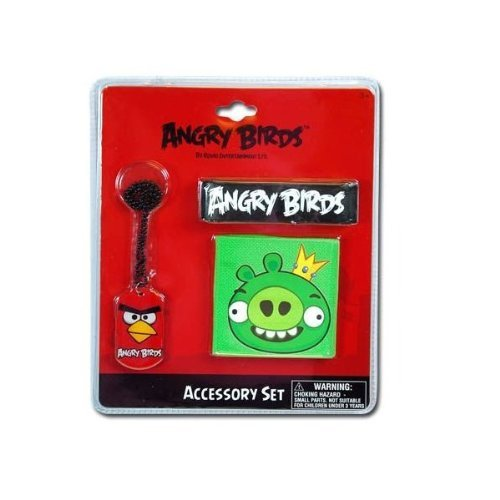 Angry Birds Accessory Set with Dog Tag Necklace, Wristband and Rubber Cuff