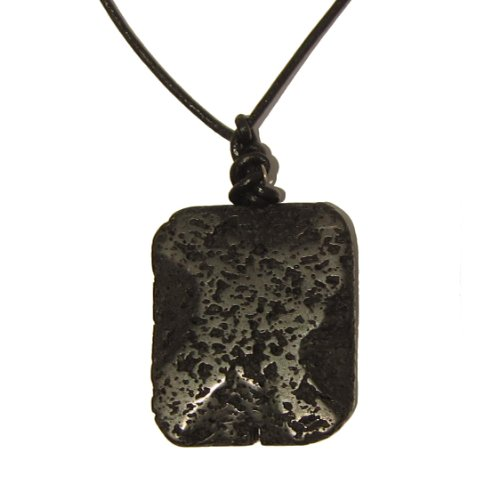 Lava Necklace 02 Pendant Black Wavy Rectangle Leather Stone Mineral Grounding Stability Unisex Crystal 21