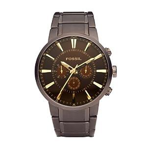 Fossil Herren-Armbanduhr Analog Edelstahl braun Quarz FS4357
