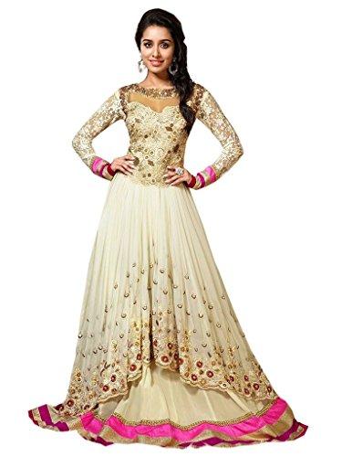 Pramukh Enteprise New Exclusive Heavy Designer White Gorgeous Anarkali Suits