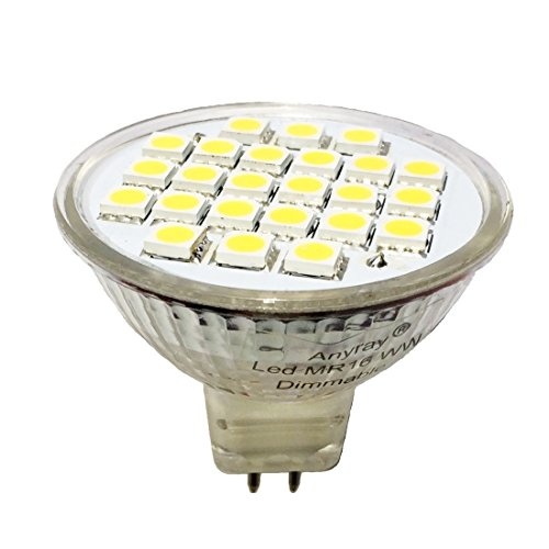 Anyray 1-Bulb Dimmable 3W Gu5.3 Mr16 Led Bulb, Equal To 35Watt Halogen Bulb, 12 Vac/Dc, Cool White Color